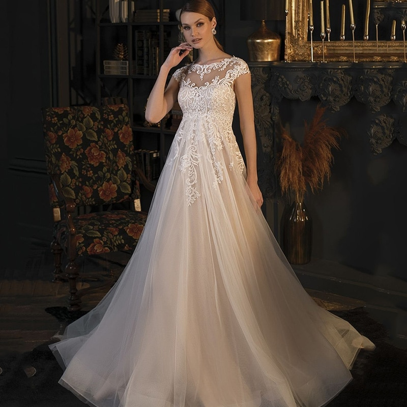 Light Champagne Maternity Wedding Dress Plus Size Bridal Dresses for Pregnant Women High Waist Wedding Gowns Lace Cap Sleeve