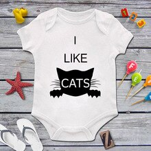 DERMSPE High Quality Newborn Baby Boys Girls Short Sleeve Funny Cat Print Romper Casual Jumpsuit Kid