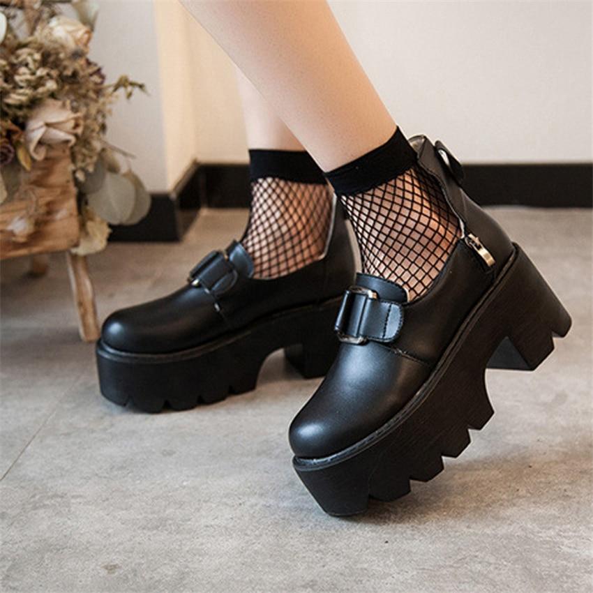 Zapatos Lolita para estudiantes universitarios, uniforme JK de mujer, zapatos de tacón con plataforma de cuero PU, zapatos de tacón con correa para tobillo para mujer, zapatos Harajuku de primavera 2020