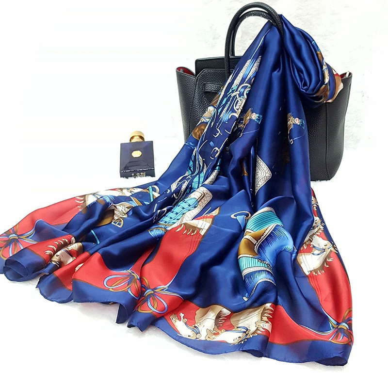 HanXi 2020 Elegant Silk Scarf for Women Print Hijab Fashion Summer Beach Shawl Plus Size 200*90cm