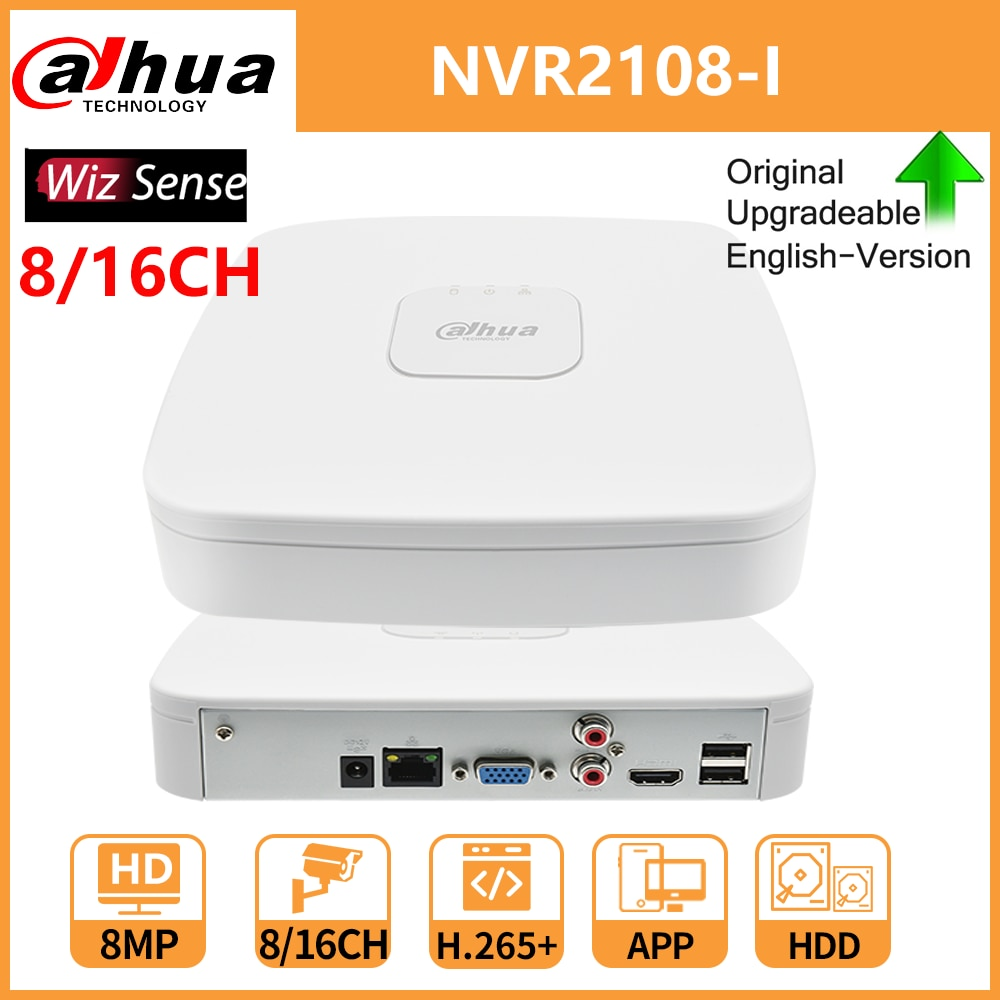 داهوا WizSense NVR NVR2108-I 8CH NVR2116-I 16CH 4K 8MP شبكة مسجل فيديو IP كاميرا كشف الوجه والاعتراف H.265 +