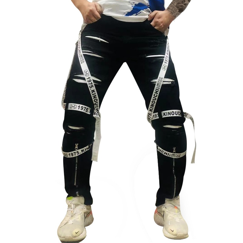 Мужские джинсы на весну-осень, 2021, облегающие прямые джинсовые брюки, модные черные Молодежные уличные брюки, трендовые рваные брюки-карго