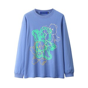 2020 Hip-Hop Harajuku T-shirts Men's Cartoon Bear Print Long-Sleeved T-shirt Autumn Winter Trend Streetwear Sweatshirt Tee Tops