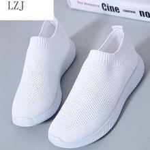 Women shoes 2019 knitted slip on female flat shoes tenis feminino casual mesh walking footwear sneak