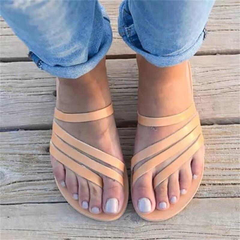 Casual ao ar Chinelos de Praia Plana de Fundo Verão Nova Moda Feminina Livre Feminino Estilo Roma Confortável Toe Sandálias Tamanho Grande 35-43