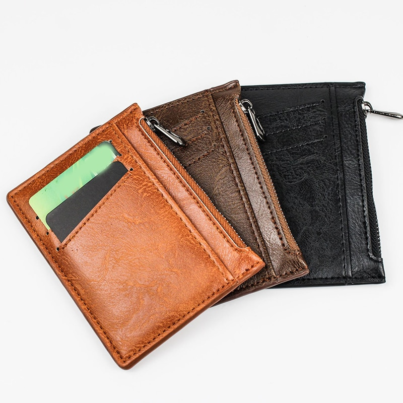 Hot Selling New Mens Short Wallet Zipper Korean Youth Men's Horizontal Wallet Trend Card Pack Purse Leather Business Card Holder
