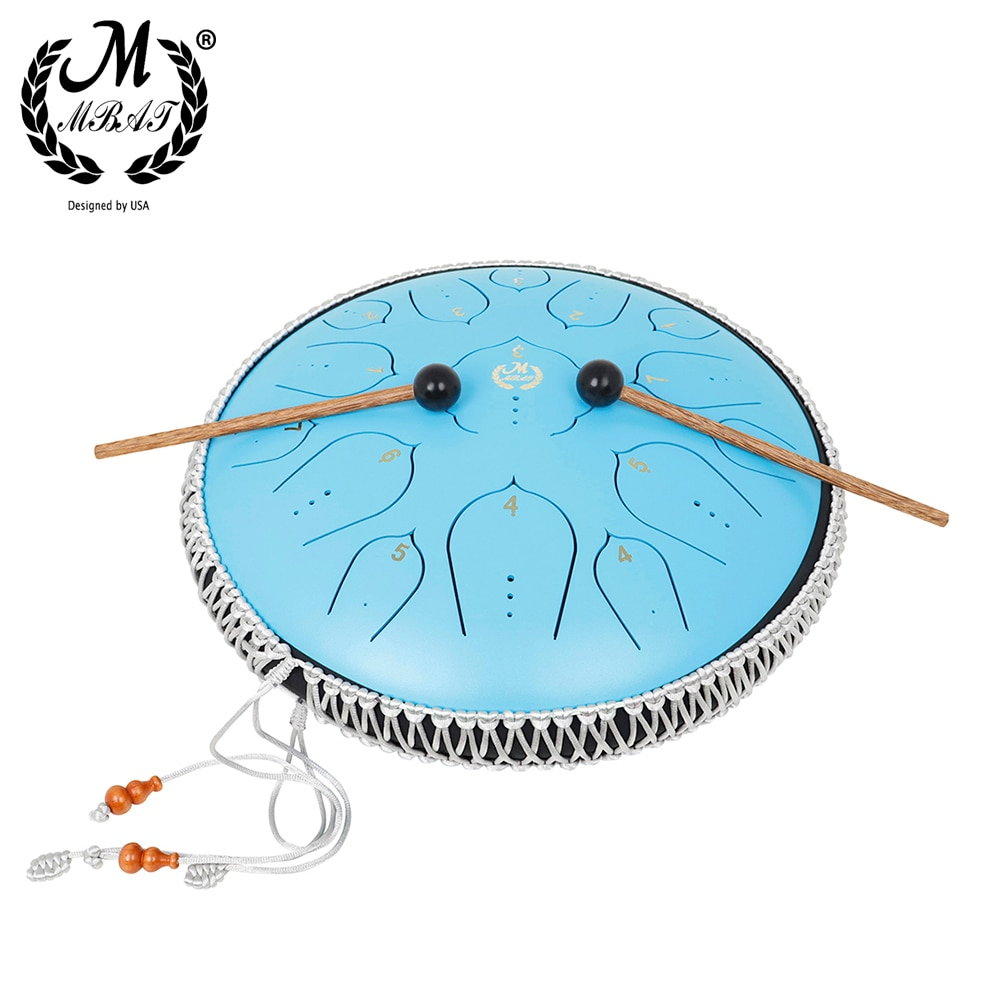M MBAT Steel Tongue Drum 13 Inch 15 Notes Ethereal Hand pan Drum Percussion Instrument Yoga Meditation Tambourine Music Gift enlarge