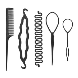 5PCS Twister Modelador de Cabelo Ferramenta Trança Hairpin Prendedor de Cabelo Fabricante de Pão Rolo Rabo de Cavalo Portátil Headwear DIY Styling Ferramentas Acessórios