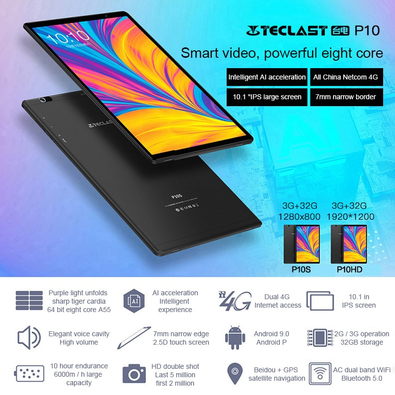 US Captain Teclast P20HD Android Tablet 4GB+64GB 10.1 Inch Octa-Core Processor, 1920x1200 FHD Touch Screen enlarge