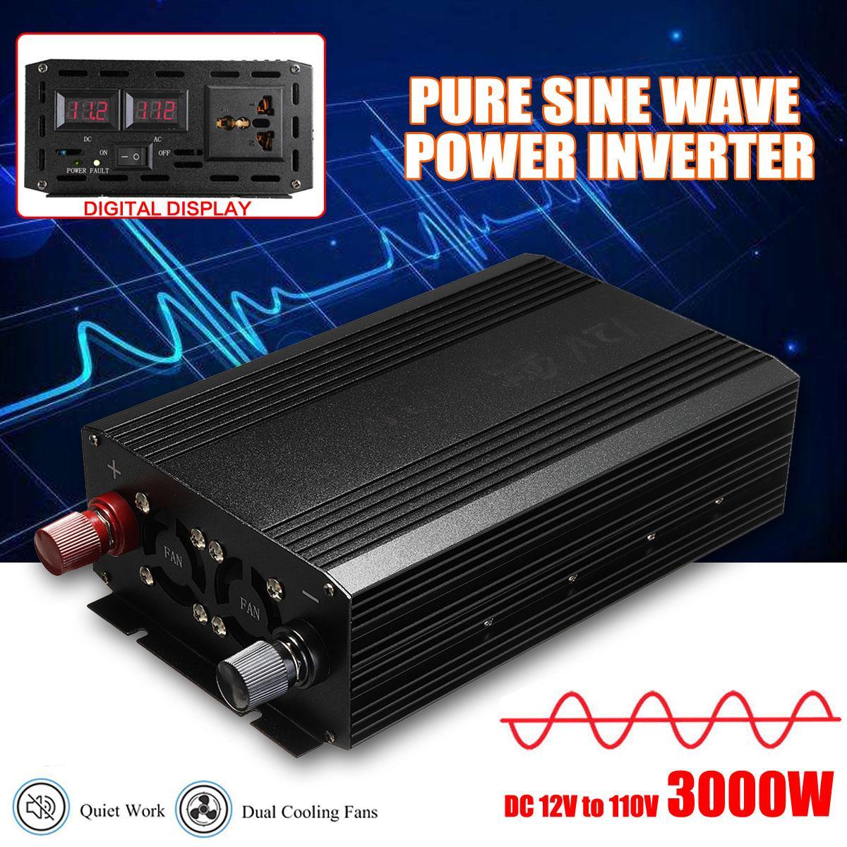 3000W Watt DC 12V to AC 110V 220V Portable Home Car Power Inverter Charger Converter Adapter Pure Sine Wave Voltage Transformer