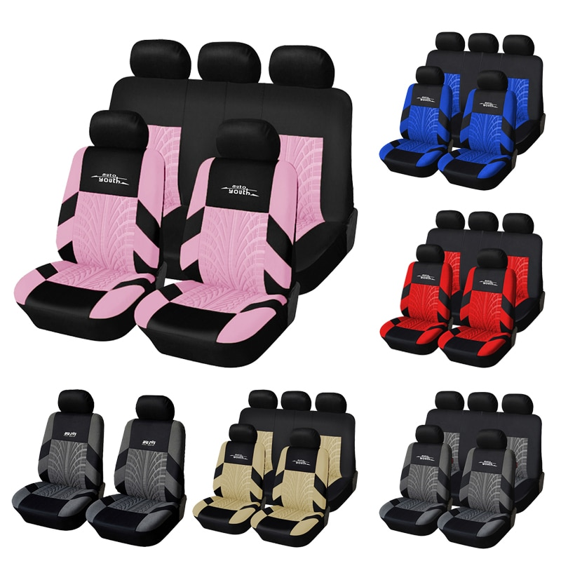 AUTOYOUTH Full Car Seat Covers Set Universal Polyester Fabric Auto Protect Covers Car Seat Protector