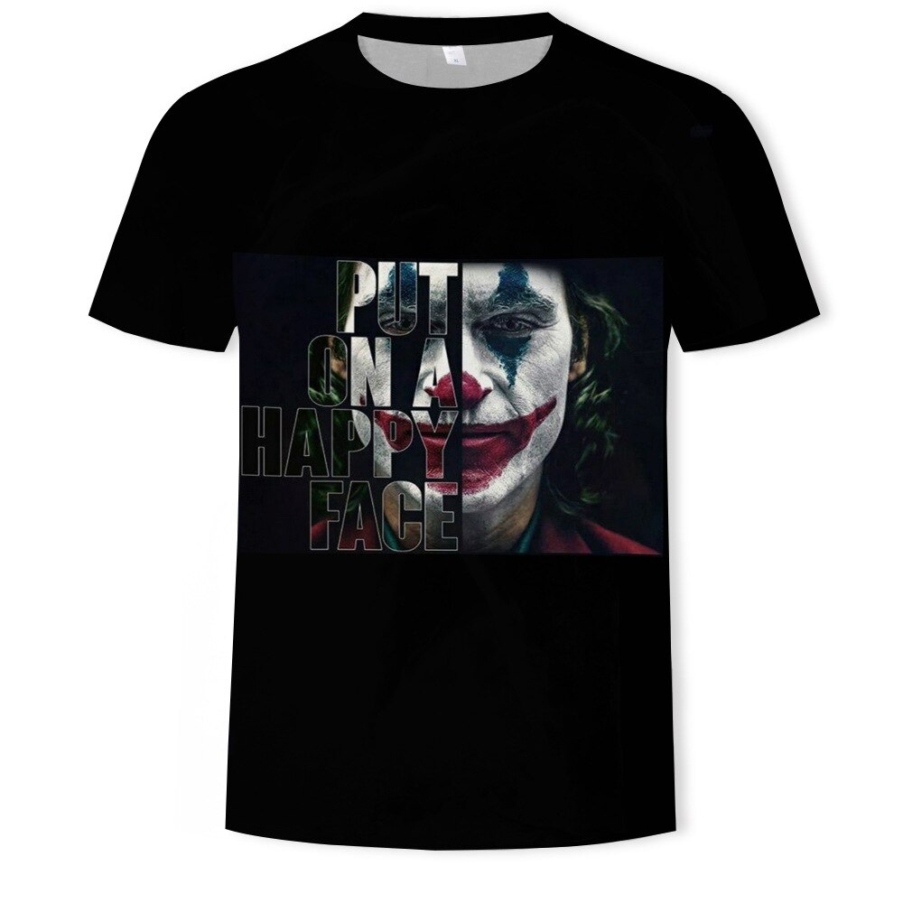 2021 New White Casual Homme Cool Antihero Hip Hop 3D Tshirt Streetwear Joker Joaquin Phoenix Harajuk