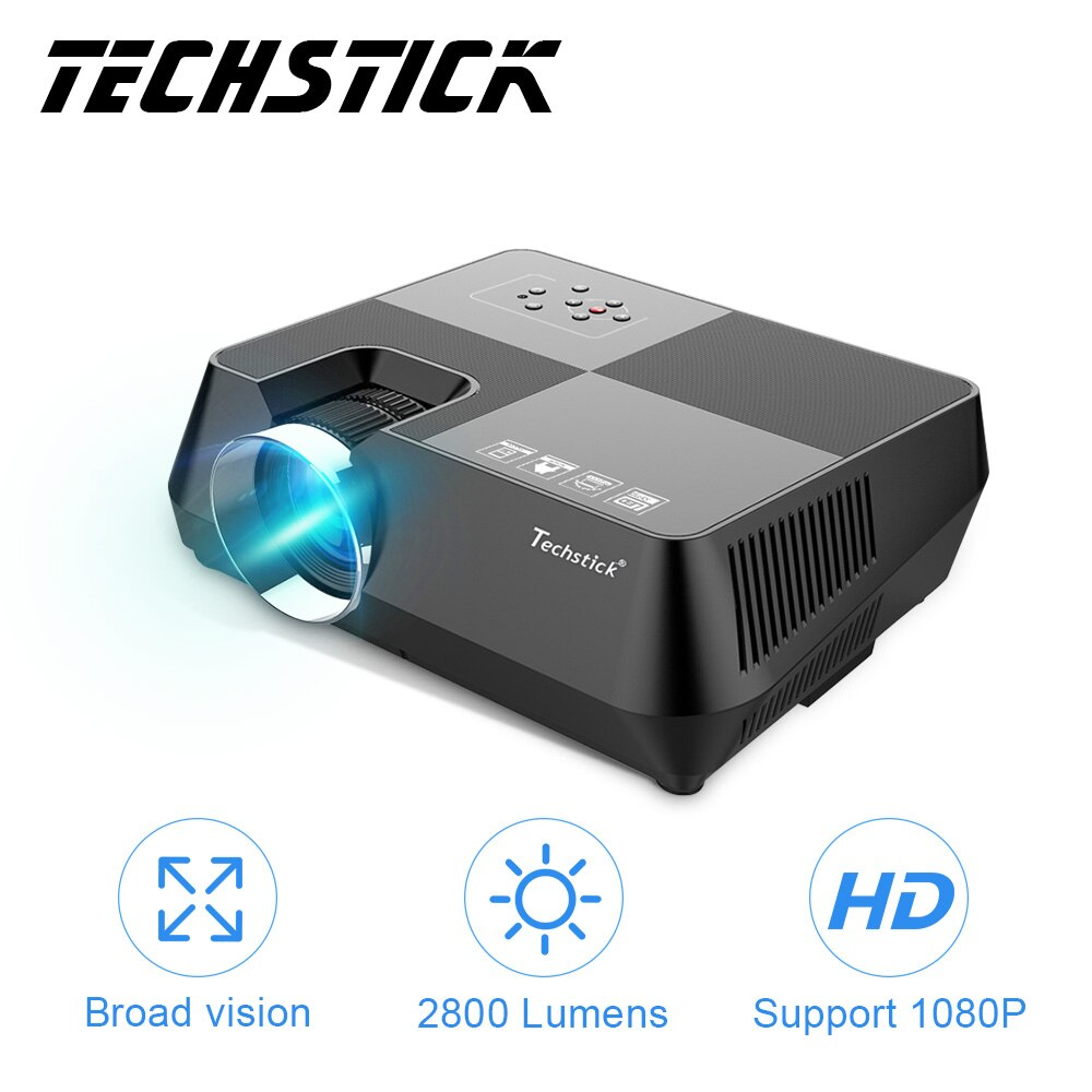 Techstick proyector LED 2800 lúmenes 3,5mm soporte de Audio Full HD 1080P HDMI VGA USB AV Mini proyector de vídeo para cine en casa WF400