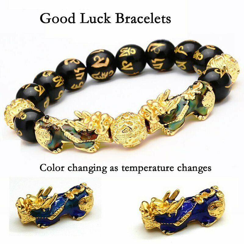 Pulsera de Pixiu que cambia de Color, brazalete de buena suerte de aleación de cuentas negras Feng Shui con joyas de oro para hombres y mujeres