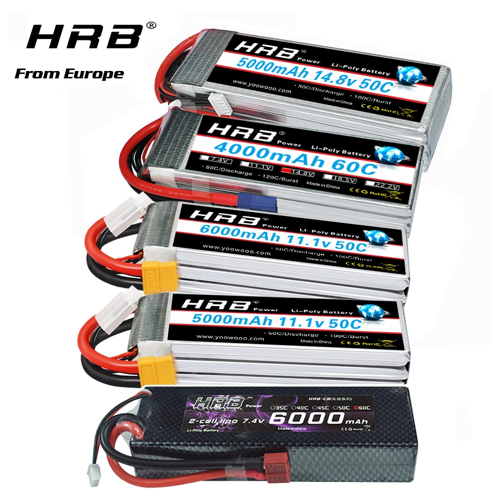 HRB يبو البطارية 2S 3S 4S 6S 6000mah 3300mah 4000mah 5000mah بطارية مع EC5 XT60 T-عمداء موصل ل RC سيارة شاحنة Drone قارب