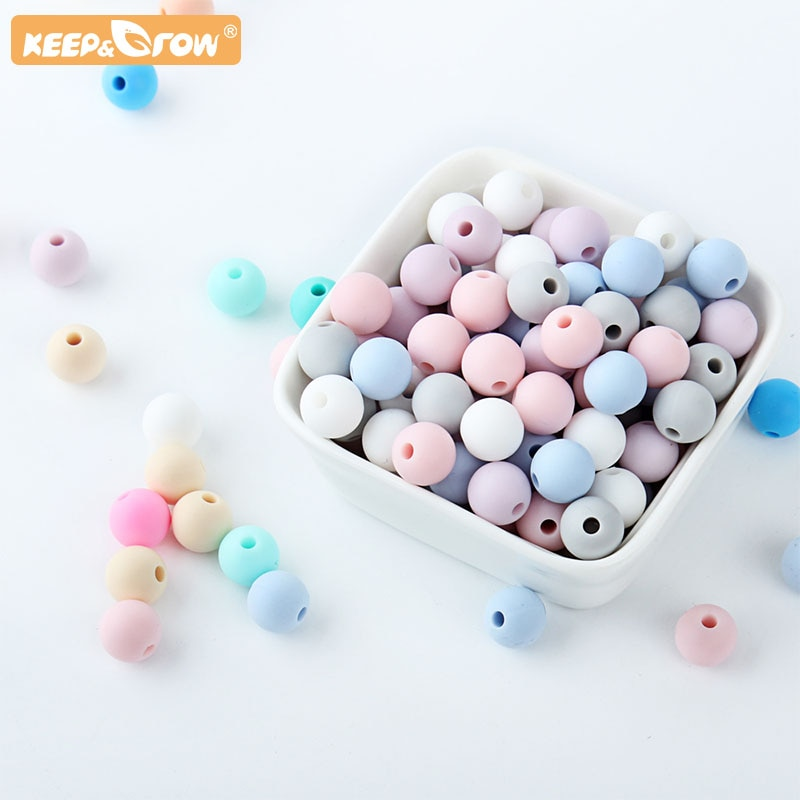 Silicone Baby Care 15MM Round Teething Beads 10pcs Making Newbron Pacifier Chain Pearl Accessory Tool Bebe BPA Free Nursing Toys