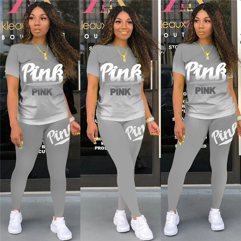 Tie Dye Two Piece Set Women Pink Letter Print Round Neck Short Sleeve Tops And Long Pants Sets Tracksuits Ladies 2pcs Outfits
