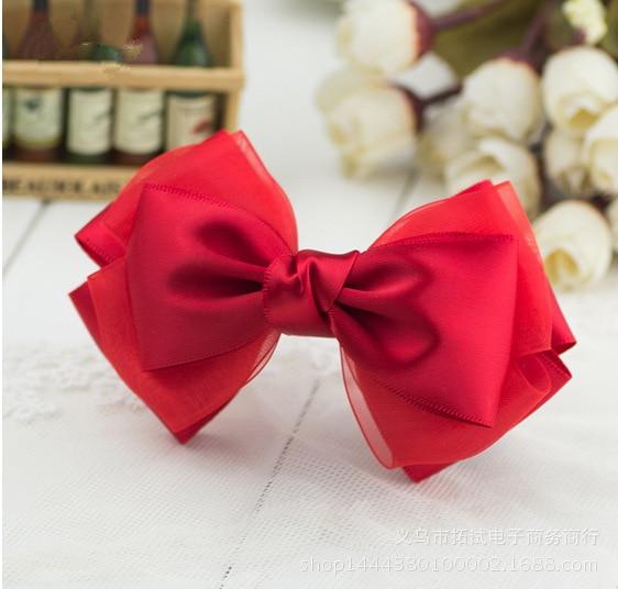 Women's Lace Ribbon Big Bow Hot Selling Hair Accessories Handmade Long Ribbon Duckbill Clip Hair Ring Spring Clip Hair Hoop