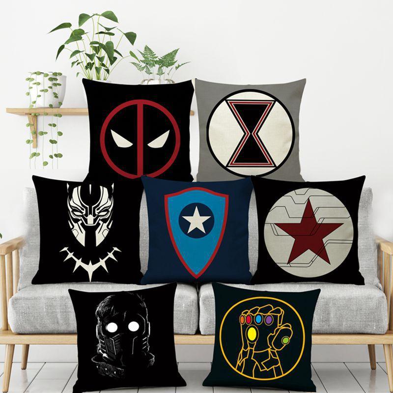 Marvel Avengers Plush Deadpool Batman Iron Man Hulk Captain America Spiderman Flax Christmas Gift No Pillow Core Pillow Cover