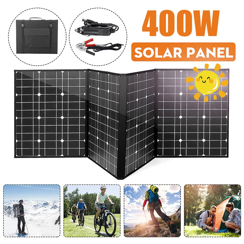 18V 400W DC Solar Panel Battery Charger USB Solar Cell Kit Complete Portable foldable Rechargeable Solar Power System Camping