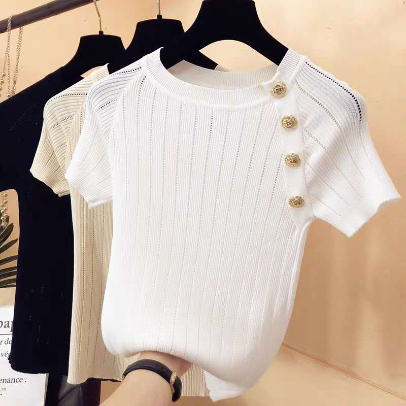 Fashion O collar metal button sweater bottoming shirt women's   thin pullover  summer Ice silk Short sleeve