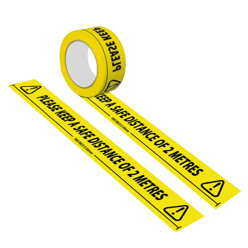 1Roll Warning Tape Safety Distance Remind DIY Sticker Work Safety Adhesive Floor Tapes For Mall Store School Distance KeepingB