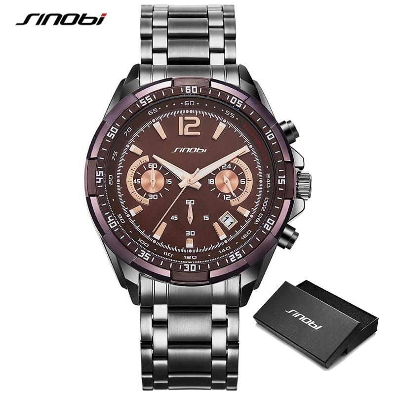 SINOBI 2021 Top Quality Luxury Business Men's Luminous Watches Stainless Steel Chronograph Quartz Watch Male Clock Relogio saat