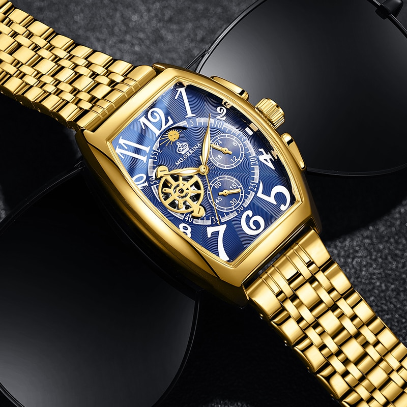 ORKINA Blue Dial New Fashion Mens Watches Golden Stainless Steel Waterproof Automatic Moon Phase Lum