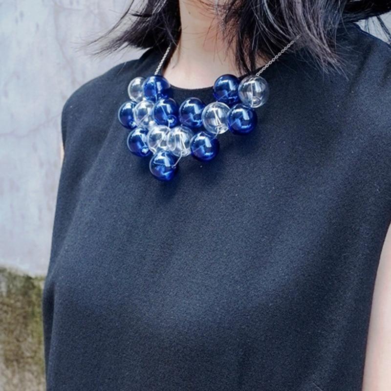 Original Design Navy Blue Bubbles Choker Necklace For Women 2019 Party Chic Hand Blown Glass Ball Charming Short Necklace Femme