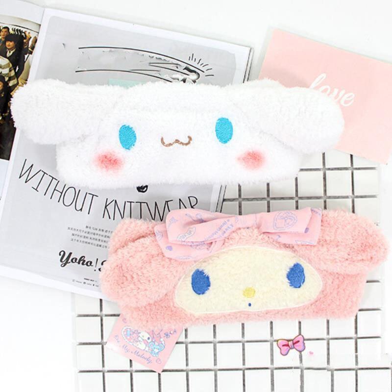 1pc Cute My Melody Cinnamoroll Dog Plush Hairband Headband for Girls Cartoon Face Washing Clean Makeup Tool Hair Band Plush Toys
