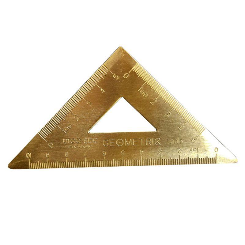 Latón lsofeles triángulo regla de dibujo, herramienta de medición de pintura, cartografía matemáticas PXPA