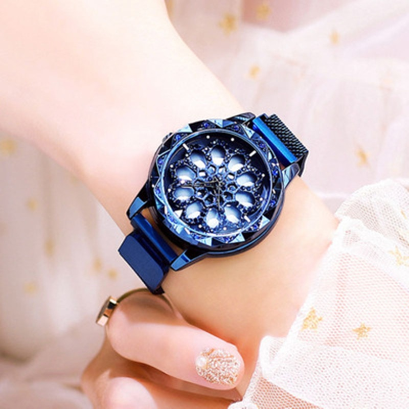 Rotating Flower Quartz Watch Women Rose Gold Stainless Watchband High Quality Casual Waterproof Wristwatch Gift enlarge