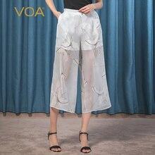VOA soie Georgette Tendon mi-hauteur encre imprimé poche latérale Double amorçage respirant sept jambe large pantalon femme K038
