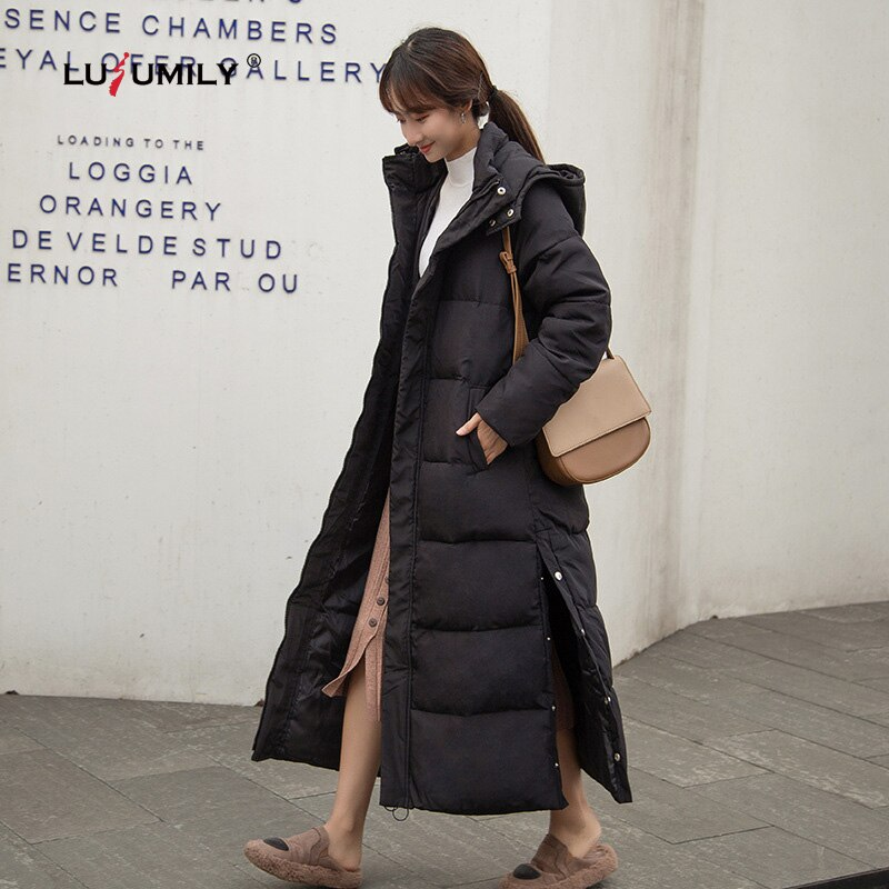 Lusumily معطف الشتاء الطويل النساء سميكة أسفل سترة طويلة من القطن معاطف مبطنة ضئيلة مقنعين أسفل سترة الإناث سترة دافئة أبلى