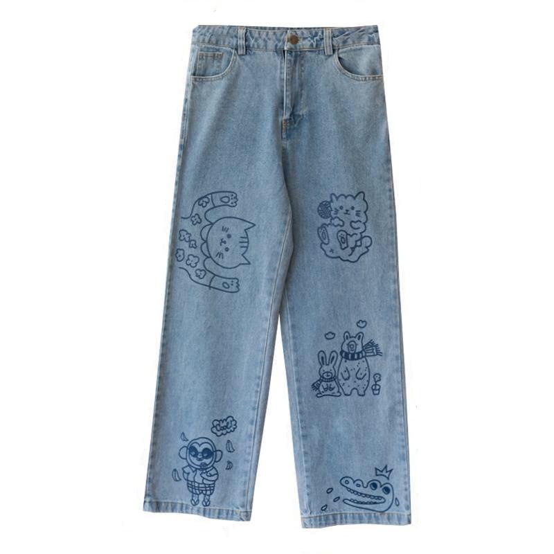 Cute Cat Print  Jeans Femme Autumn Kawaii Loose Womens Fashion Trousers Funny Korean High Waist Harajuku Trendy Pants Females