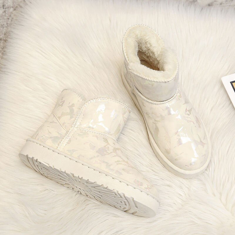 Shoes Woman Snow Boots Women's Winter Cotton-padded Shoes with Velvet Thick Warm Fashion Plush Velvet Luxury White Pink Black