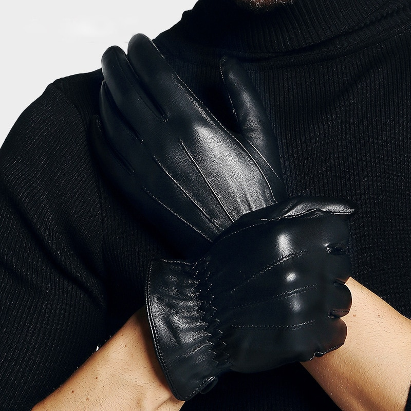 Man's Sheepskin Gloves Spring Autumn Fashion Thin Silky Lined Driving Real Leather Gloves Male Free Shipping TE0912A man s real leather gloves thin spring autumn driving sheepskin gloves male unlined fashion simple free shipping te0625a