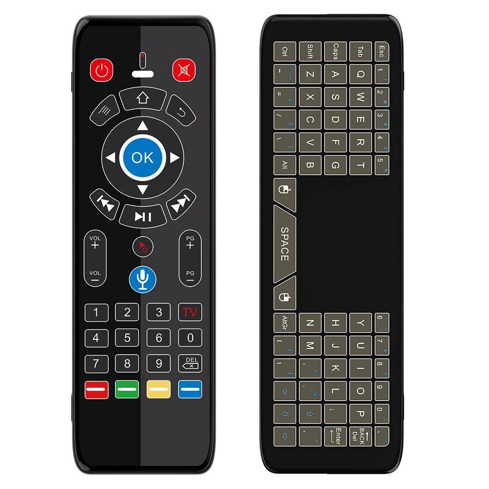 بلوتوث لوحة مفاتيح ماوس هوائية صوت عن بعد 7 ألوان الخلفية لوحة اللمس الدوران نطاق 2.4G IR مصباح ليد للتلفزيون صندوق التلفزيون الذكية