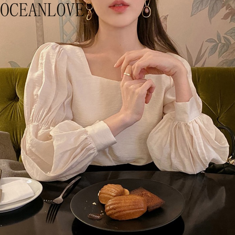 OCEANLOVE Bluses Camisas Das Mulheres 2020 OL Coreano Puff Luva Retro Collar Praça Sólidos Plissada Blusas Mujer Moda Tops 16017