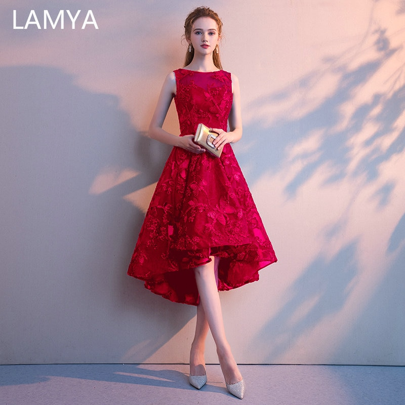 LAMYA 2019 Elegant High Low Prom Dresses Simple Short Front Long Back Formal Party Dress Plus Size Vestido de Festa Longo
