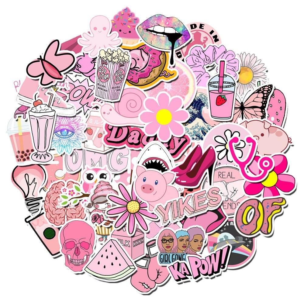 100 uds. Pegatinas Kawaii simples de dibujos animados rosas para niñas, juguete para niños, pegatina impermeable para ordenador portátil, pegatina para coche o bicicleta
