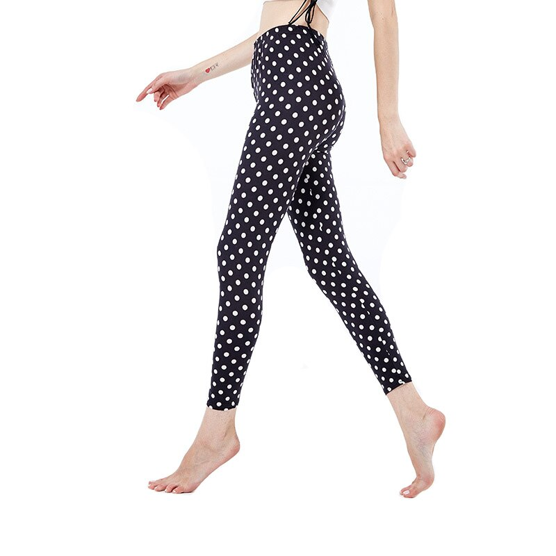 VISNXGI Autumn Vertical Stripe Dot Printing Women Legging Soft Gym Floral Pants Fashion Stretchy Skinny Casual Work Out Trousers