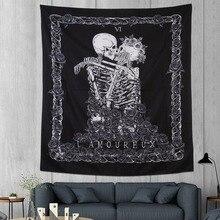 Tapiz con esqueleto negro de Horror para Halloween, tapiz enmarcado con espiga, decoración para el hogar, sala de estar o fiesta