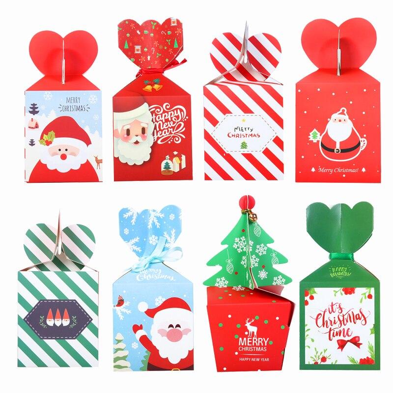 Caja de dulces de Navidad decoraciones para fiesta de cumpleaños bolsa de galletas caja de regalo decoración de Navidad para el hogar cajas de embalaje decoración de nacimiento Navida