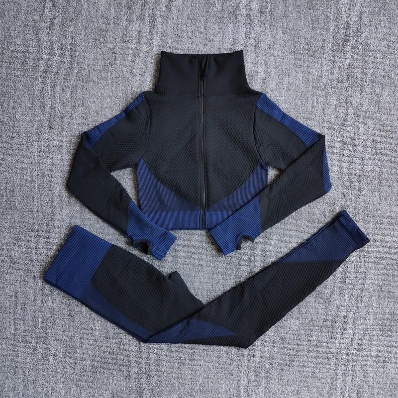 Seamless Yoga Set Women Fitness Gym Clothing Yoga Long Sleeve Shirts High Waist Running Leggings Workout Pants Sports Suits