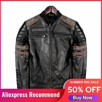 2021 black genuine leather jacket men skulls embroidery motorcycle style plus size 4xl real natural cowhide slim fit short coat