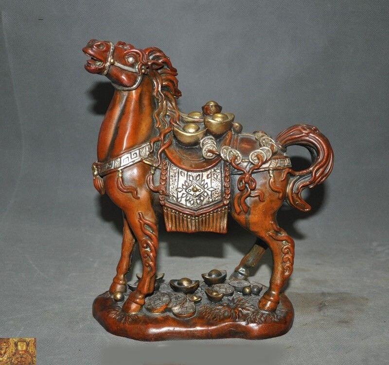 """Decoración de boda 10 """"Feng Shui chino bronce 24k oro dorado-plata animal del Zodíaco Estatua de la riqueza del caballo"""