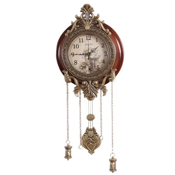 Reloj de pared grande Retro europeo creativo madera sala de estar clásico chino silencioso gran péndulo Reloj de pared Saat decoración moderna E5