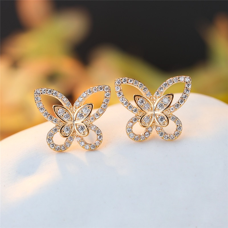 White Zircon Stone Cute Butterfly Stud Earrings For Women Wedding Jewelry Vintage Fashion Rose Gold