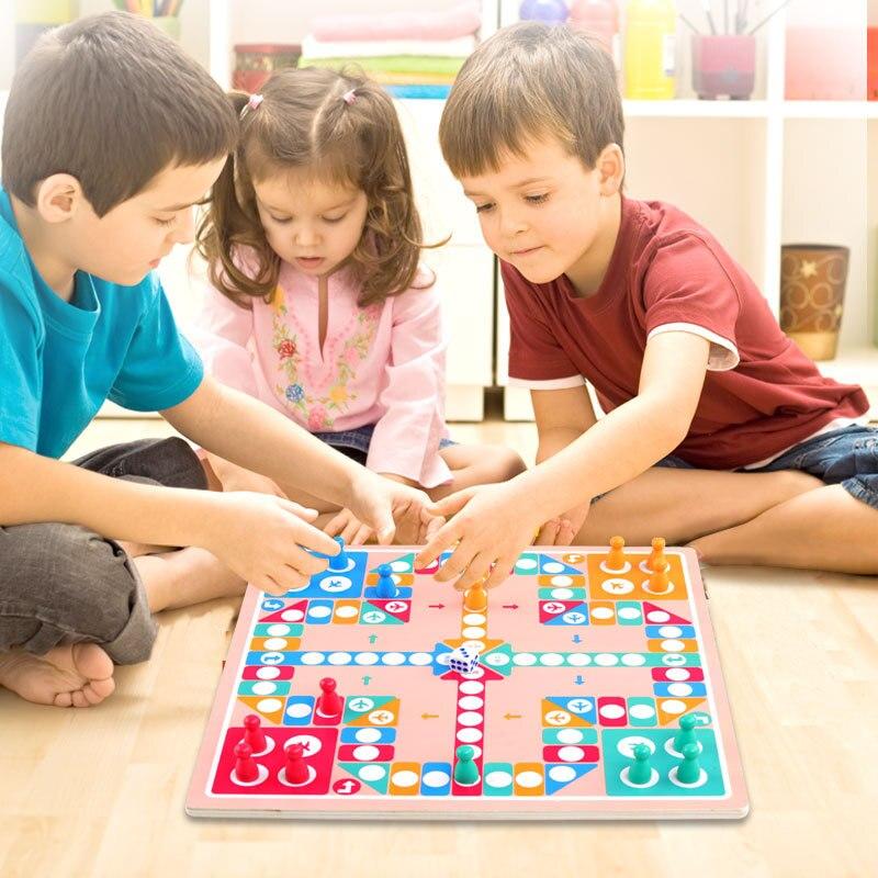 Serpientes y escaleras dos en uno, ajedrez de avión, juego multifuncional, tablero de ajedrez chino, Chequers niños, fuerza educativa temprana